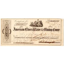 American River Water & Mining Comp. Stock Certificate