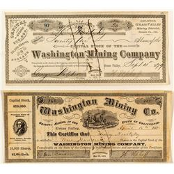 Washington Mining Company Stock Certificate Pair