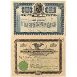 Two Idaho Mining Stock Certificates