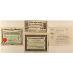 Four Montana Mining Stock Certificates