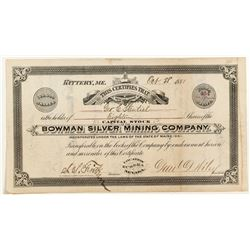 Bowman Silver Mining Co. Stock Certificate