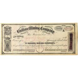 Bullion Mining Co. Stock Certificate