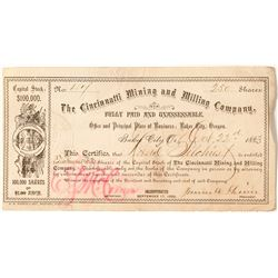 The Cincinnati Mining and Milling Company Stock Certificate