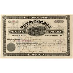 Cheyenne Cons. Mining Co. Territorial Stock Certificate