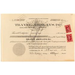 Founders Certificate: Travel Airways Inc. Stock Certificate