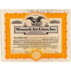 Monarch Air Lines Stock Certificate