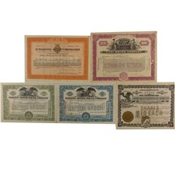 Auto. Stock Certificates Variety Group