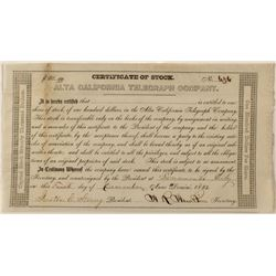 Gold-Rush Era Alta California Telegraph Co. Stock Certificate