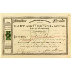 Hart & Company Stock Certificate with Hawaiian Revenue Stamp (Candy & Ice Cream)