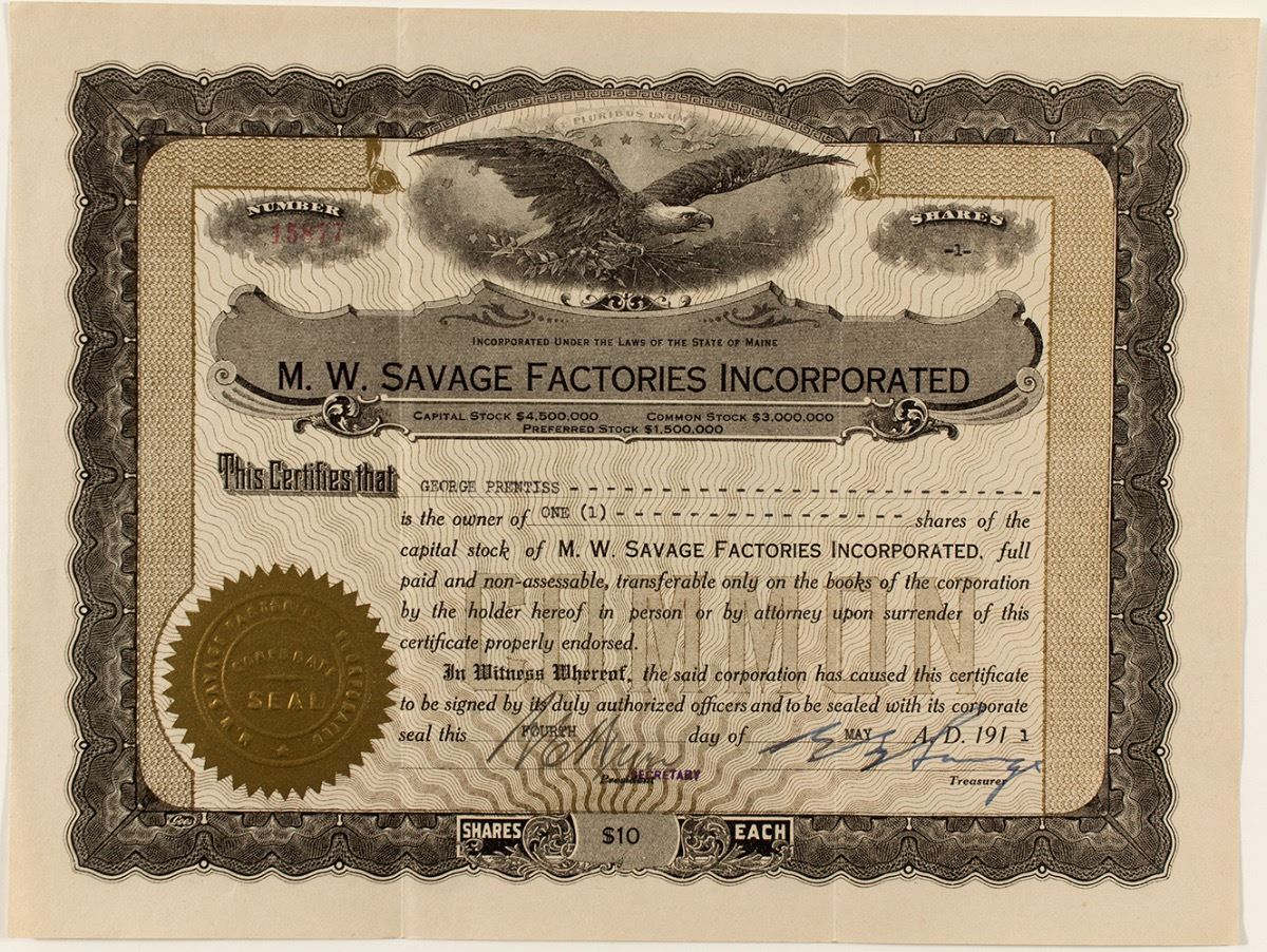 Mw Savage Factories Incorporated Stock Certificate Mail Order