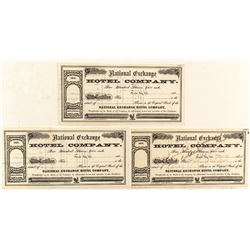 National Exchange Hotel Company Stock Certificates (3)