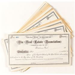 Unissued stock certificates from The Real Estate Association