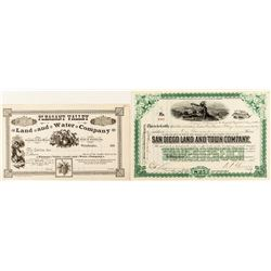 Two Different San Diego Stock Certificates (incl. Signature of Benjamin P. Cheney, WF Director)