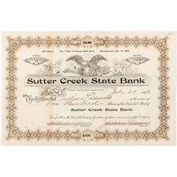 Sutter Creek State Bank Stock Certificate