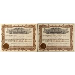 California Glass Company Stock Certificates
