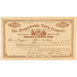 The Pennsylvania Town Company Stock Certificate