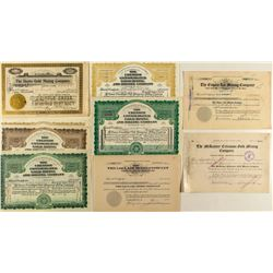 Nine Cripple Creek Mining Stock Certificates