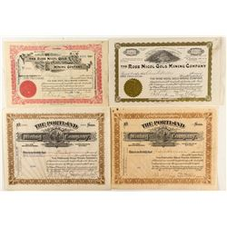 Rose Nicol Gold Mining Co. and Portland Gold Mining Co. Stock Certificates