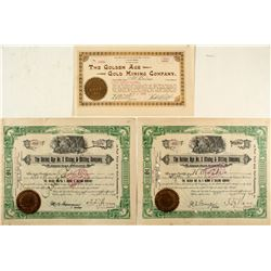 The Golden Age Gold Mining Company Stock Trio
