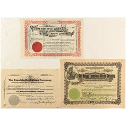 Three Cripple Creek Mining Stock Certificates