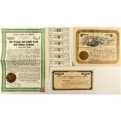Three Rare Cripple Creek Mining Stock Certificates