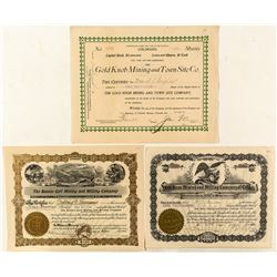 Three Scarce Cripple Creek Mining Stock Certificates