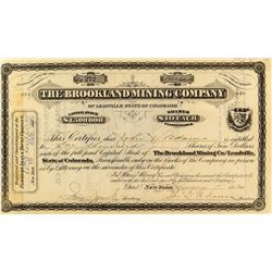 Brookland Mining Company Stock Certificate w/ Map on Reverse