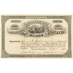 Carbonate Hill Consolidated Mining Company Stock Certificate