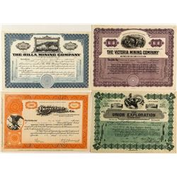 Four Nice Engraved Colorado Mining Stock Certificates