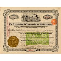 The Transcontinental Transportation & Mining Company Stock Certificate w. Foreign Revenue