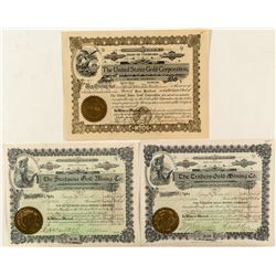 Three Colorado Gold Mining Stock Certificates
