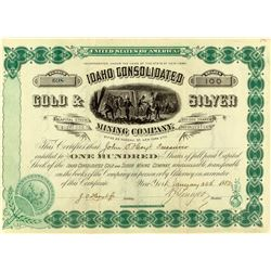Idaho Consolidated Gold & Silver Mining Company Stock Certificate