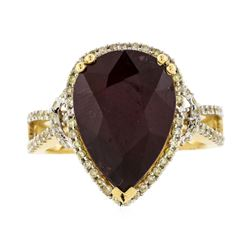 14KT Yellow Gold 8.46ct Ruby and Diamond Ring