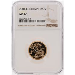 2004 1 Sovereign Great Britain Gold Coin NGC MS65