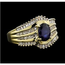 14KT Yellow Gold 1.00ct Sapphire and Diamond Ring