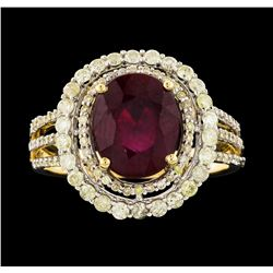 14KT Yellow Gold 3.96ct Ruby and Diamond Ring