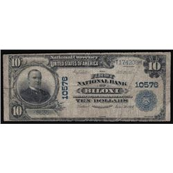 1902 $10 The First National Bank of Biloxi Mississippi National Currency Note