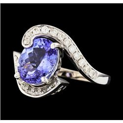 14KT White Gold 3.17ct Tanzanite and Diamond Ring