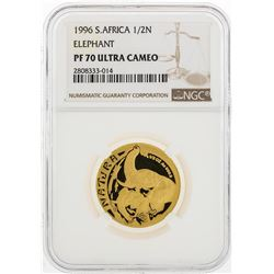 1996 South Africa 1/2 Natura Elephant 1/2 oz Gold Coin NGC PF70 Ultra Cameo