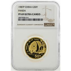1987P China 50 Yuan Panda Gold Coin NGC PF69 Ultra Cameo