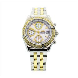 Breitling Two Tone 18KT Gold Chronograph Mens Wristwatch