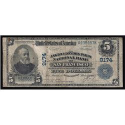 1902 $5 The Anglo & London Paris National Bank of San Francisco Note