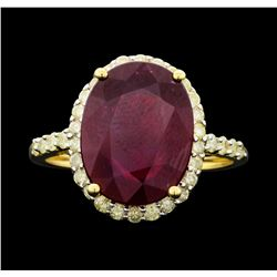 14KT Yellow Gold 8.06ct Ruby and Diamond Ring