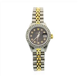 Rolex Ladies Two Tone 14KT yellow Gold 1.00ctw Diamond Datejust Wristwatch