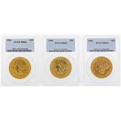 Lot of (3) 1904 $20 Liberty Head Double Eagle Gold Coins PCGS MS64