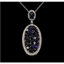 14KT White Gold 3.41ctw Sapphire and Diamond Pendant with Chain