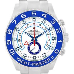 Rolex Yachtmaster II Stainless Steel Blue Bezel Mens Watch