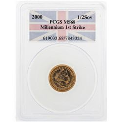 2000 1/2 Sovereign Millennium 1st Strike Gold Coin PCGS MS68