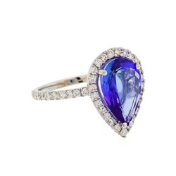 14KT White Gold 4.11ct Tanzanite and Diamond Ring