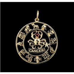 14KT Yellow Gold 0.10ct Ruby Zodiac Pendant